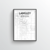 Langley City Map Art Print - Point Two Design - Black and White