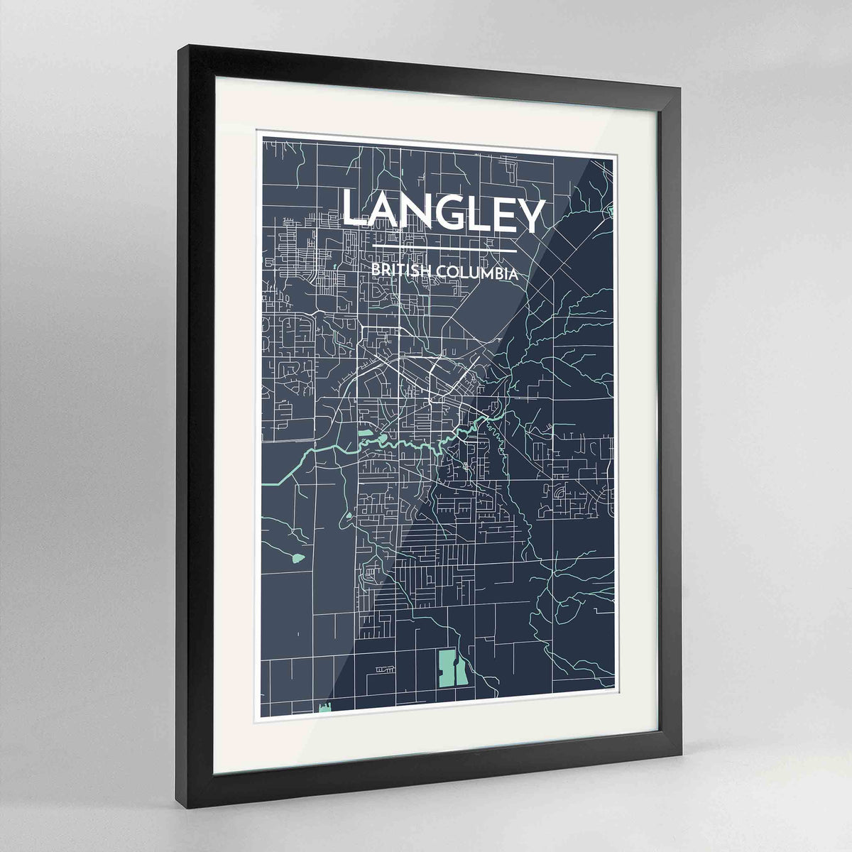 "Framed Langley City Map 24x36"" Contemporary Black frame Point Two Design Group"