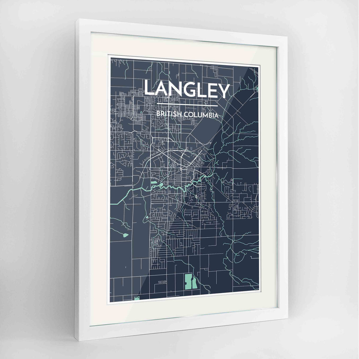 "Framed Langley City Map 24x36"" Contemporary White frame Point Two Design Group"