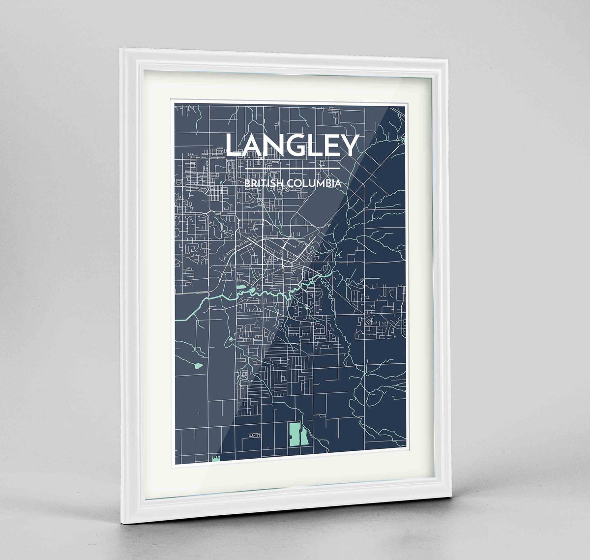 "Framed Langley City Map 24x36"" Traditional White frame Point Two Design Group"
