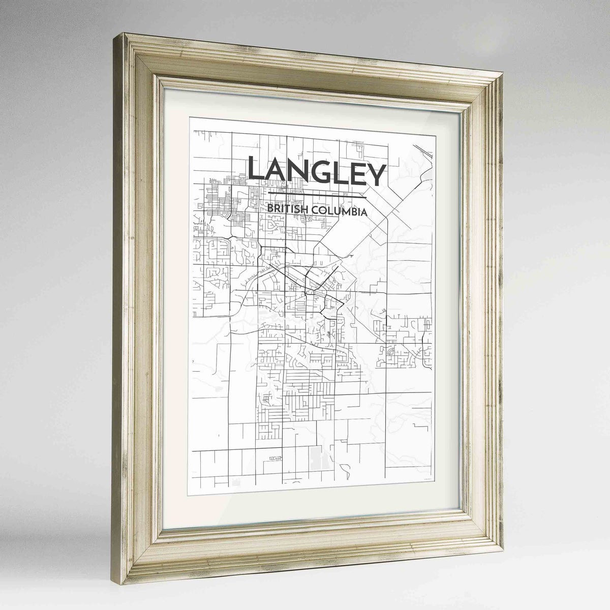 "Framed Langley City Map 24x36"" Champagne frame Point Two Design Group"
