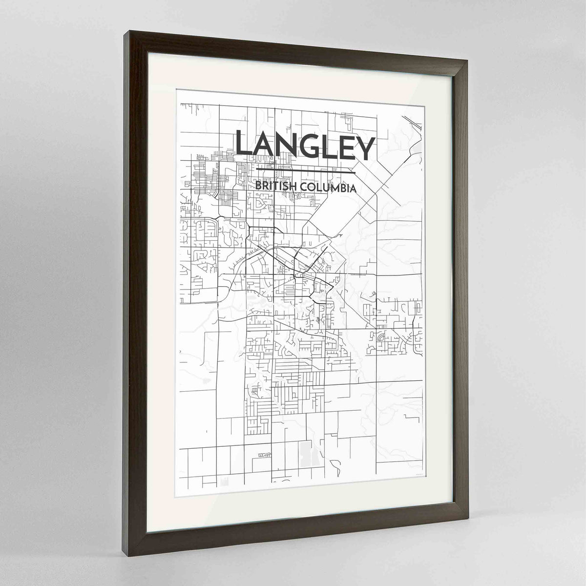 "Framed Langley City Map 24x36"" Contemporary Walnut frame Point Two Design Group"