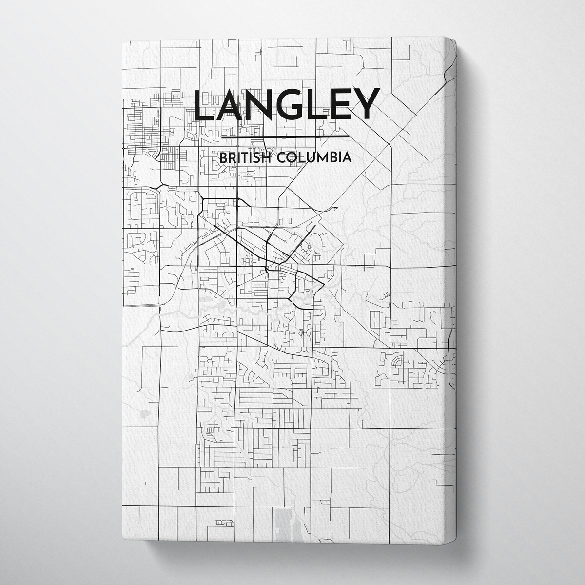 Langley City Map Canvas Wrap - Point Two Design - Black and White