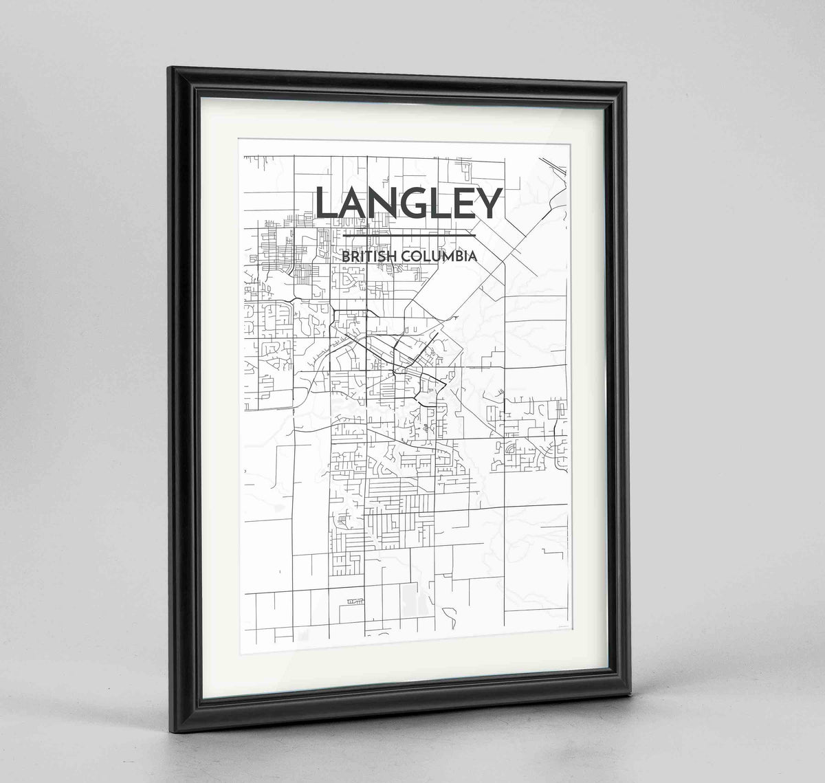 "Framed Langley City Map 24x36"" Traditional Black frame Point Two Design Group"