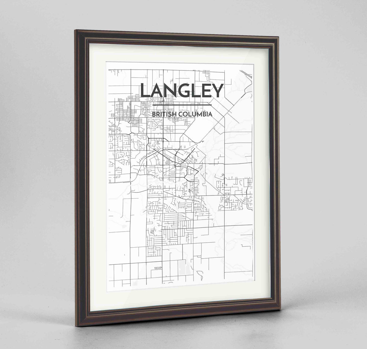 "Framed Langley City Map 24x36"" Traditional Walnut frame Point Two Design Group"