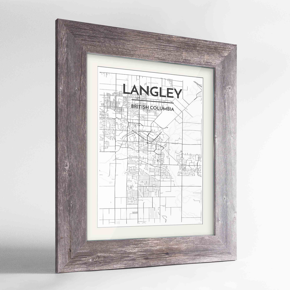 "Framed Langley City Map 24x36"" Western Grey frame Point Two Design Group"