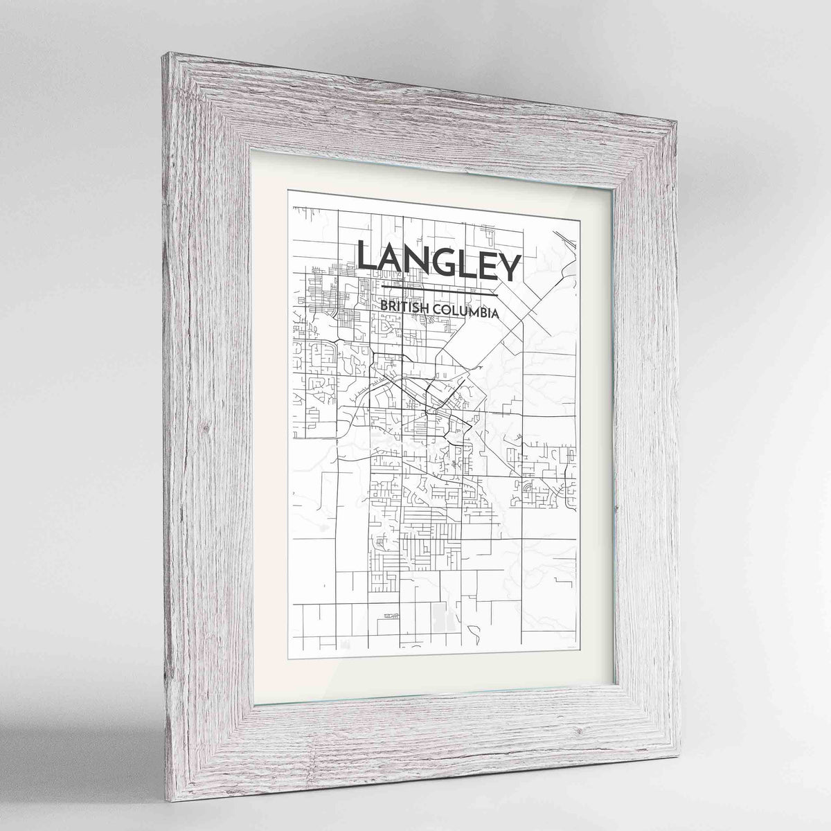 "Framed Langley City Map 24x36"" Western White frame Point Two Design Group"