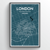 London Ontario City Map Art Print - Point Two Design