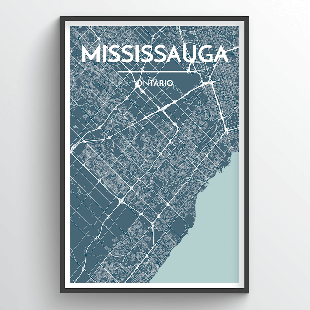 Missisauga City Map Art Print - Point Two Design