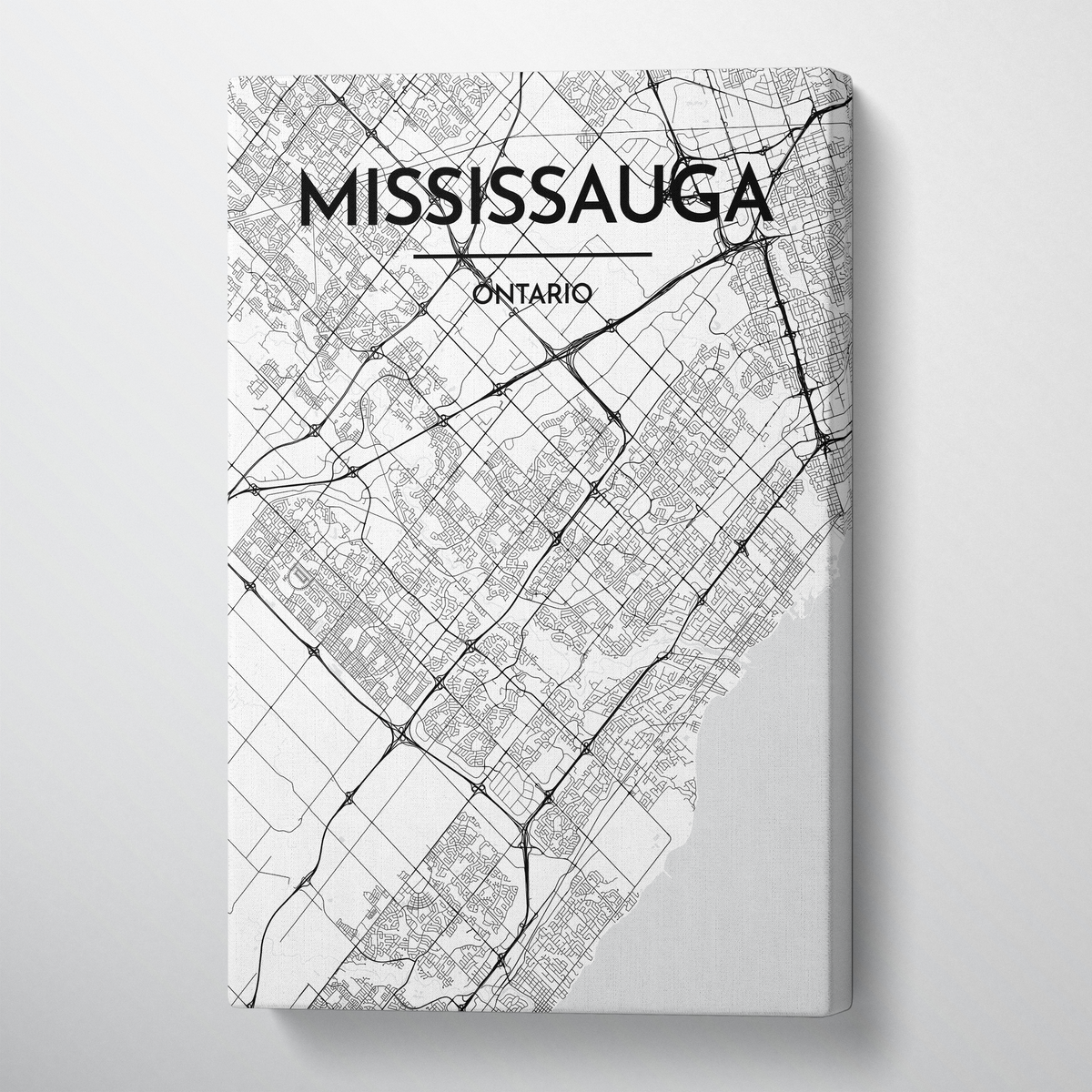 Missisauga City Map Canvas Wrap - Point Two Design - Black and White