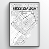 Missisauga City Map Art Print - Point Two Design - Black and White