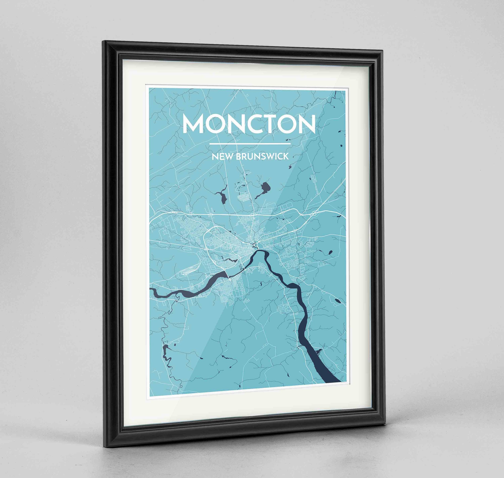 "Framed Moncton City Map 24x36"" Traditional Black frame Point Two Design Group"
