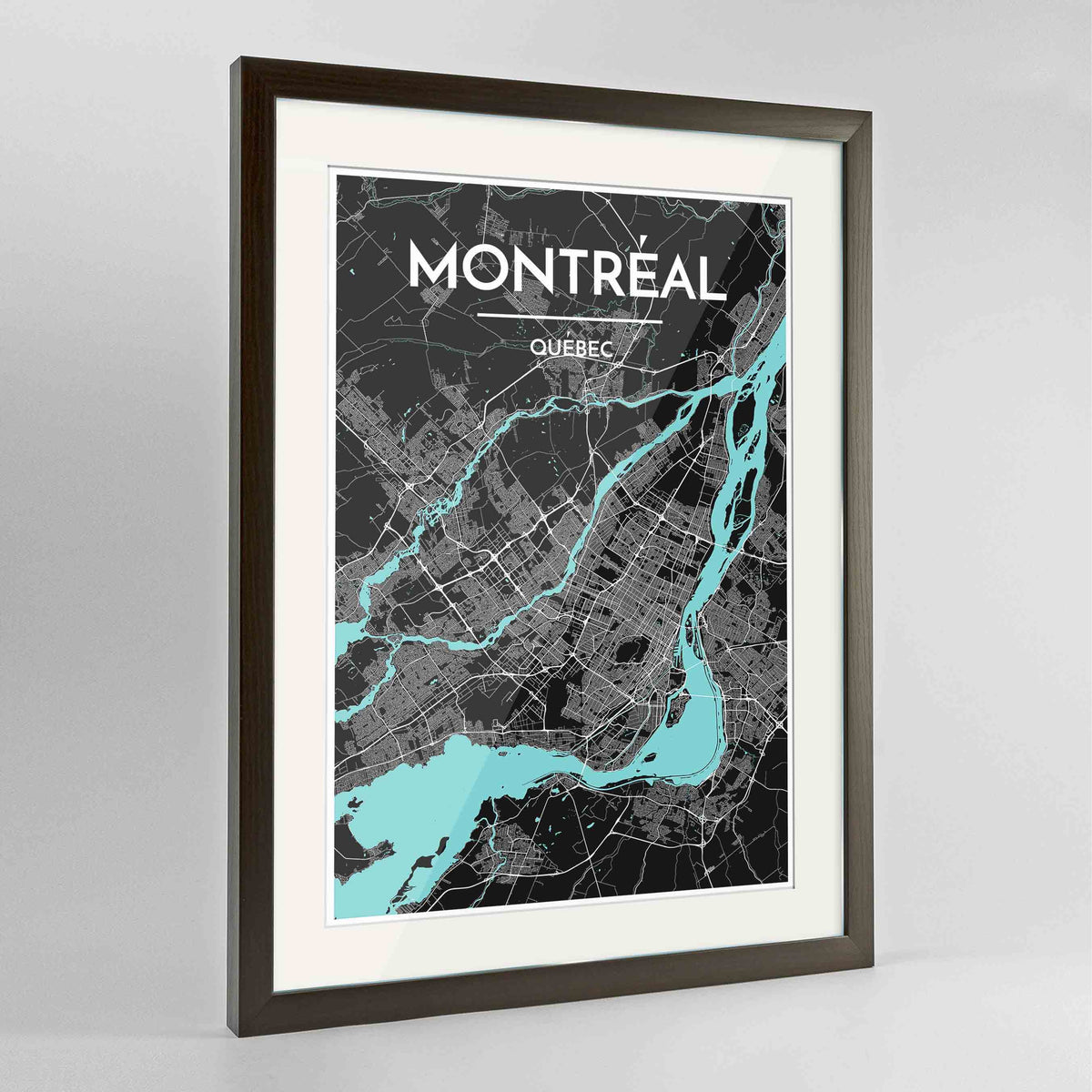 "Framed Montreal City Map 24x36"" Contemporary Walnut frame Point Two Design Group"
