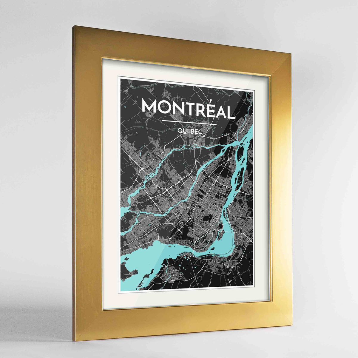 "Framed Montreal City Map 24x36"" Gold frame Point Two Design Group"