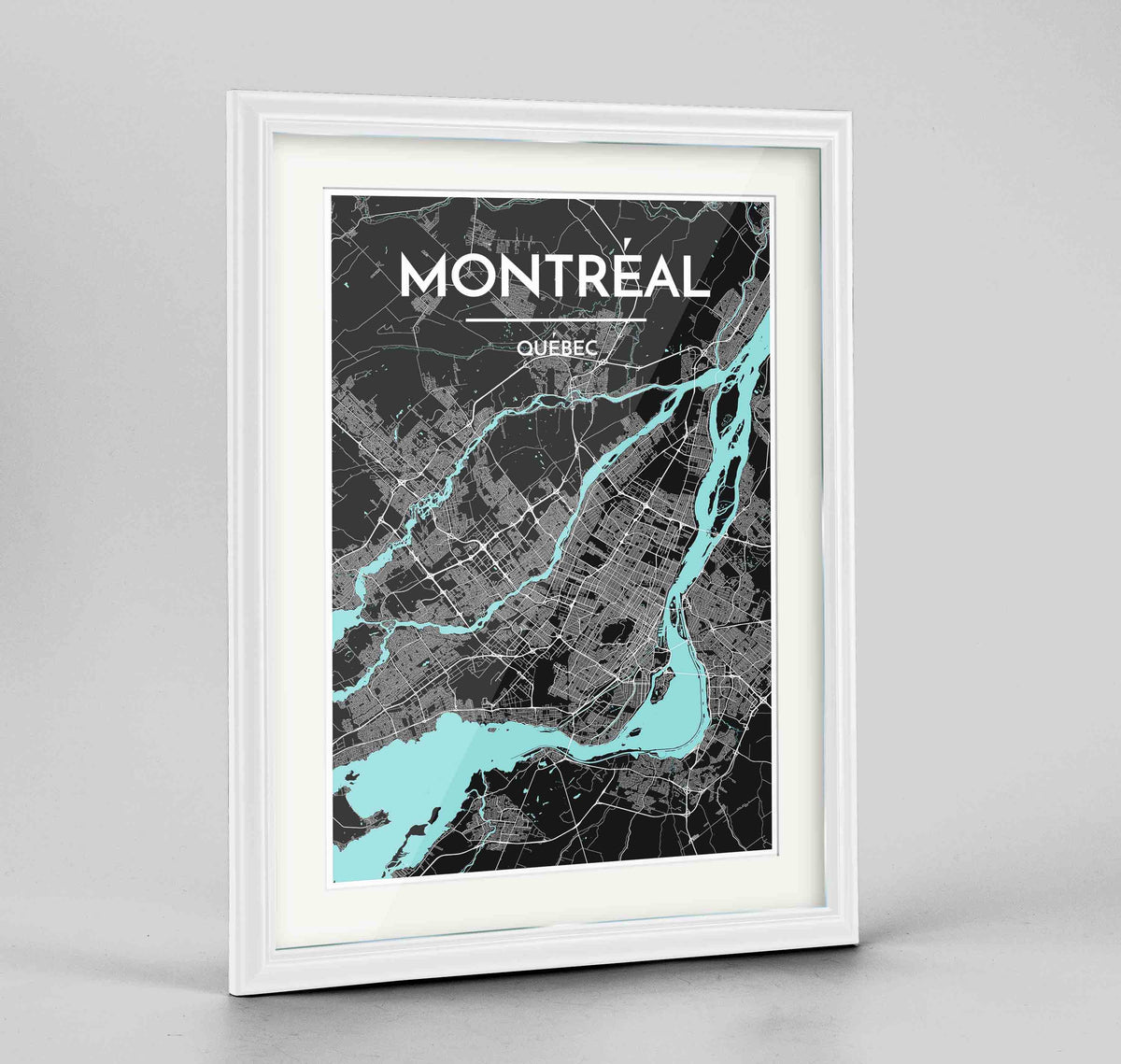 "Framed Montreal City Map 24x36"" Traditional White frame Point Two Design Group"