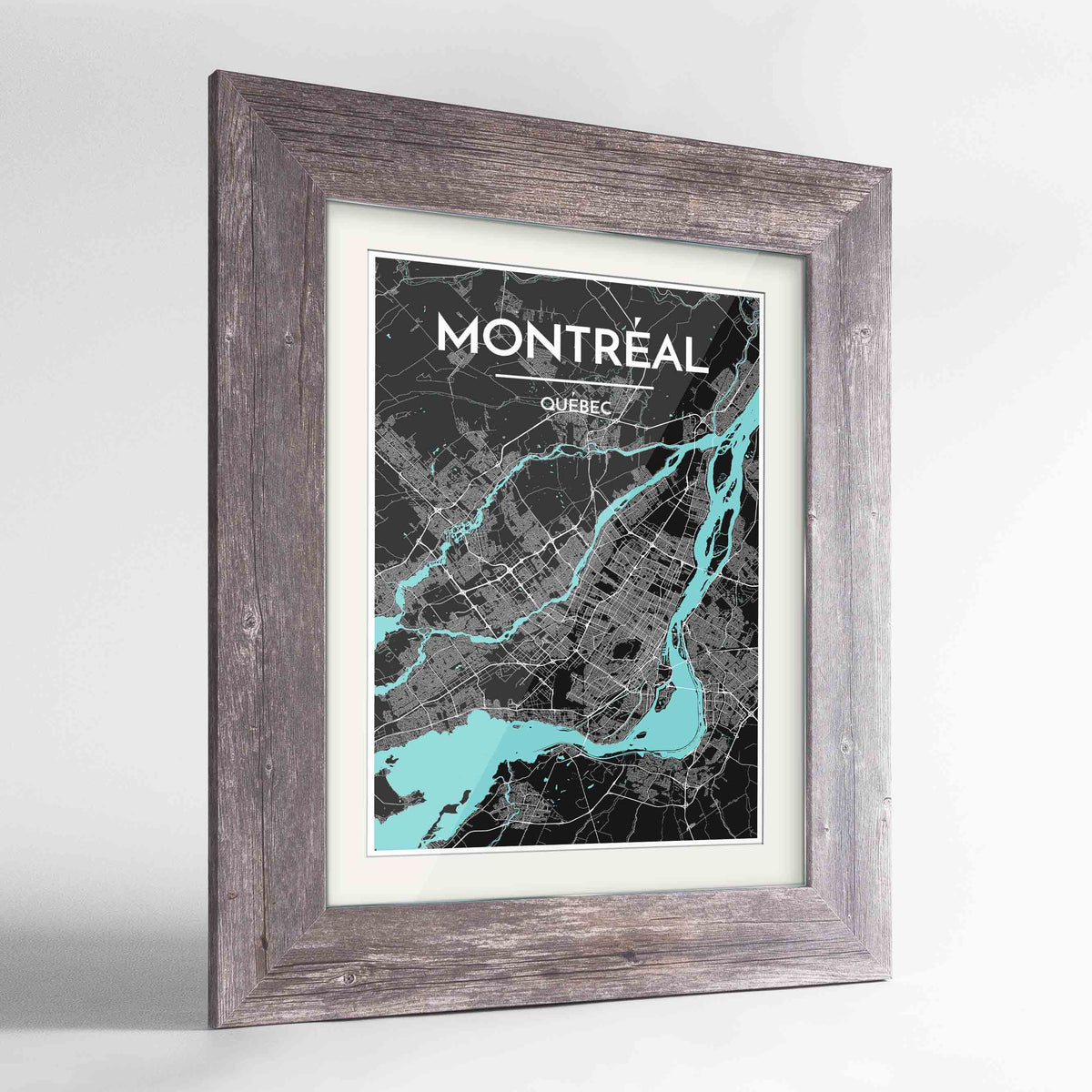 "Framed Montreal City Map 24x36"" Western Grey frame Point Two Design Group"