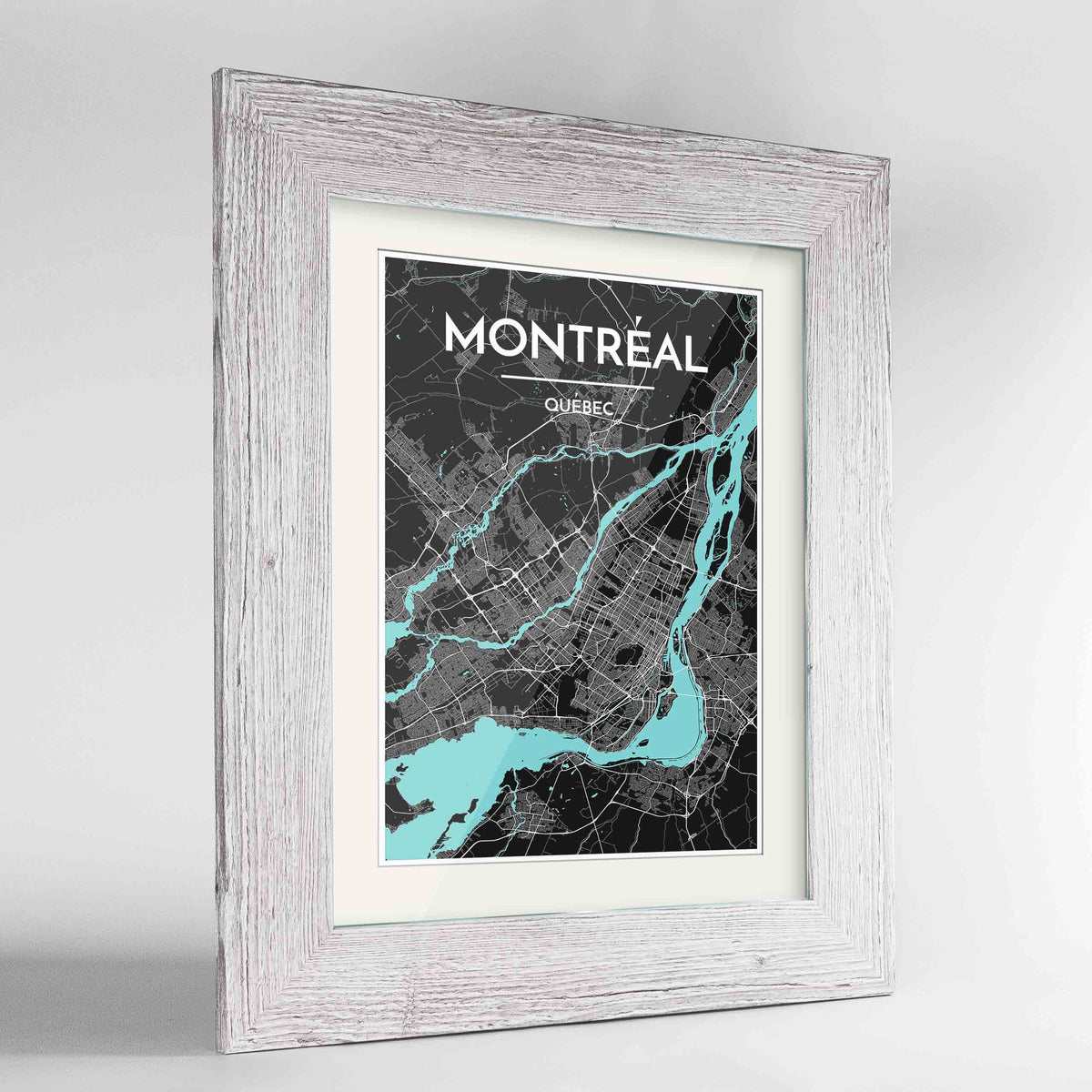 "Framed Montreal City Map 24x36"" Western White frame Point Two Design Group"