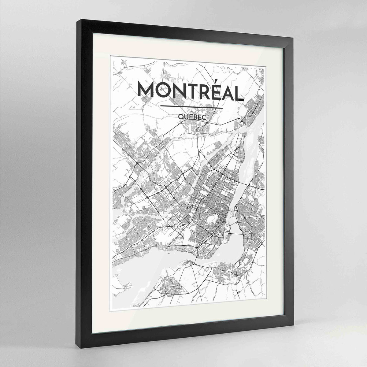 "Framed Montreal City Map 24x36"" Contemporary Black frame Point Two Design Group"