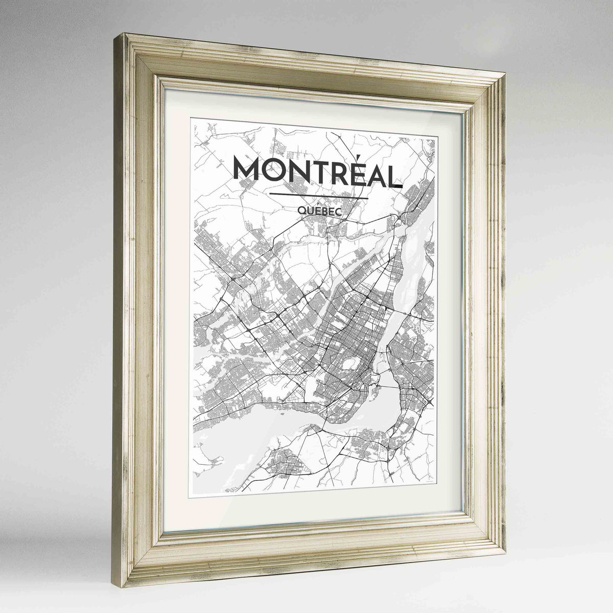 "Framed Montreal City Map 24x36"" Champagne frame Point Two Design Group"