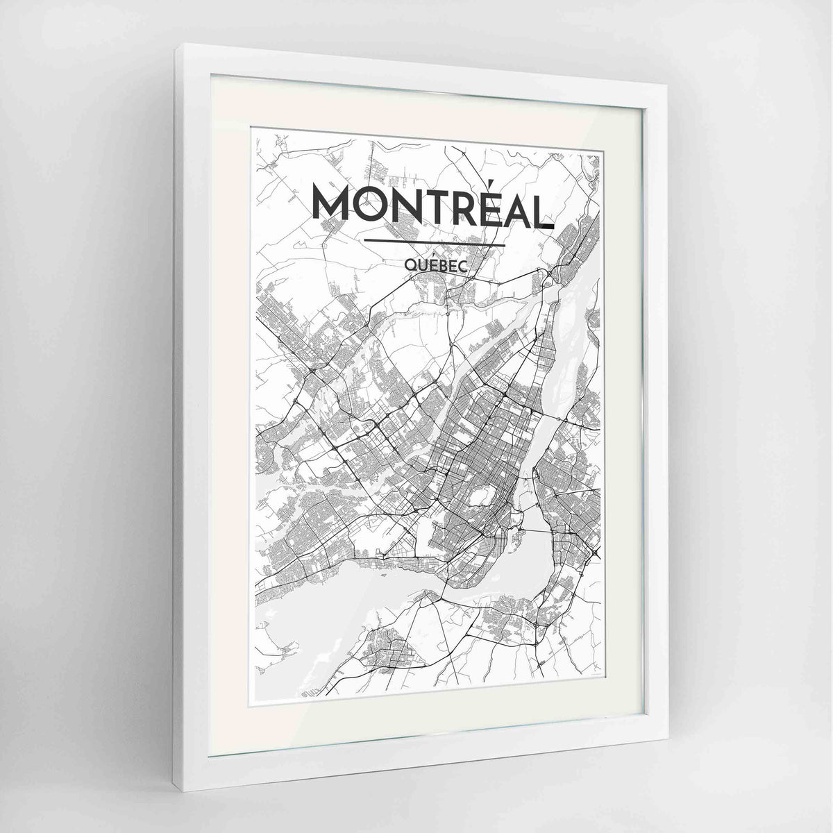 "Framed Montreal City Map 24x36"" Contemporary White frame Point Two Design Group"