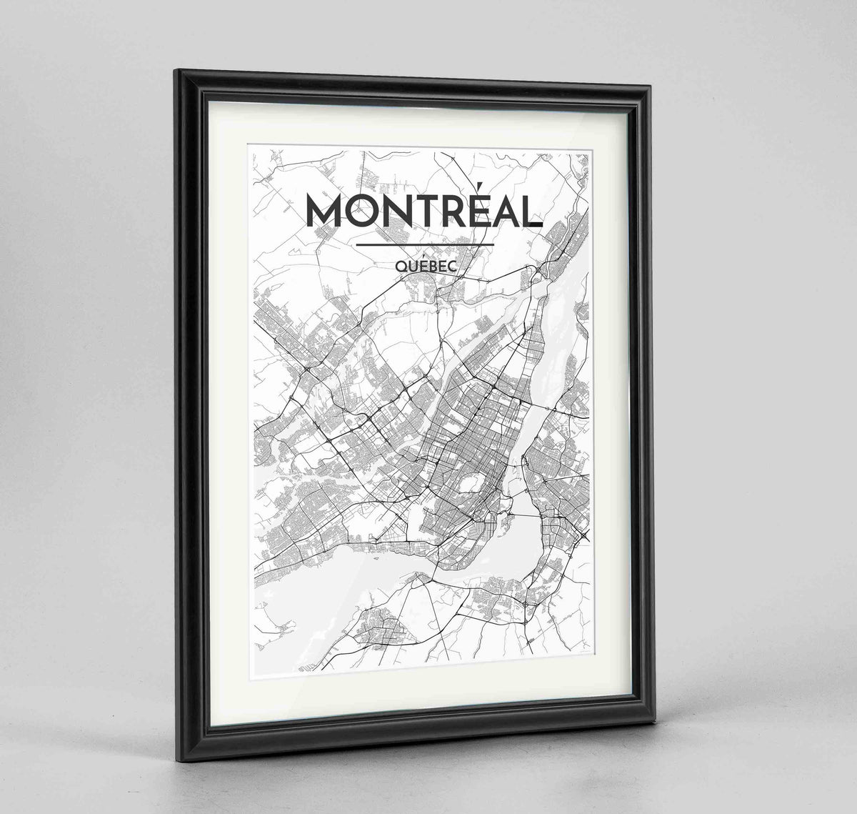 "Framed Montreal City Map 24x36"" Traditional Black frame Point Two Design Group"