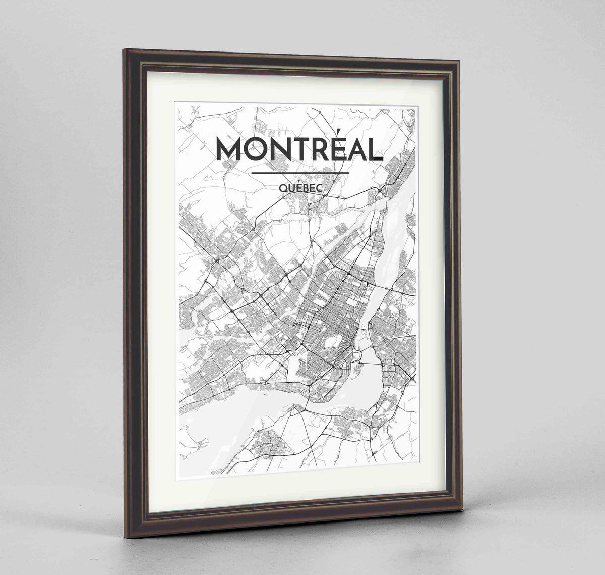 "Framed Montreal City Map 24x36"" Traditional Walnut frame Point Two Design Group"