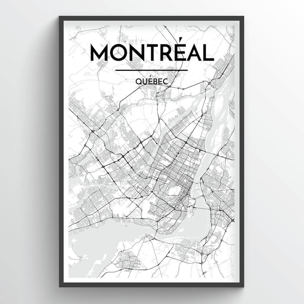 Montreal City Map Art Print - Point Two Design - Black and White