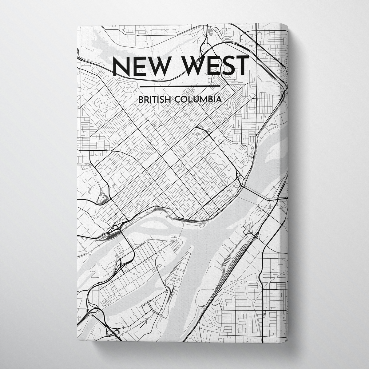 New Westminster City Map Canvas Wrap - Point Two Design - Black and White