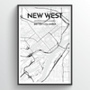 New Westminster City Map Art Print - Point Two Design - Black and White
