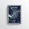 Ottawa City Map Art Print - Point Two Design