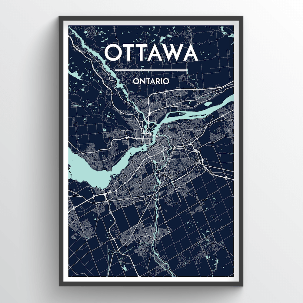 City Map Ottawa Canada Central Canada City Map Art  Custom City Map Prints   Point Two