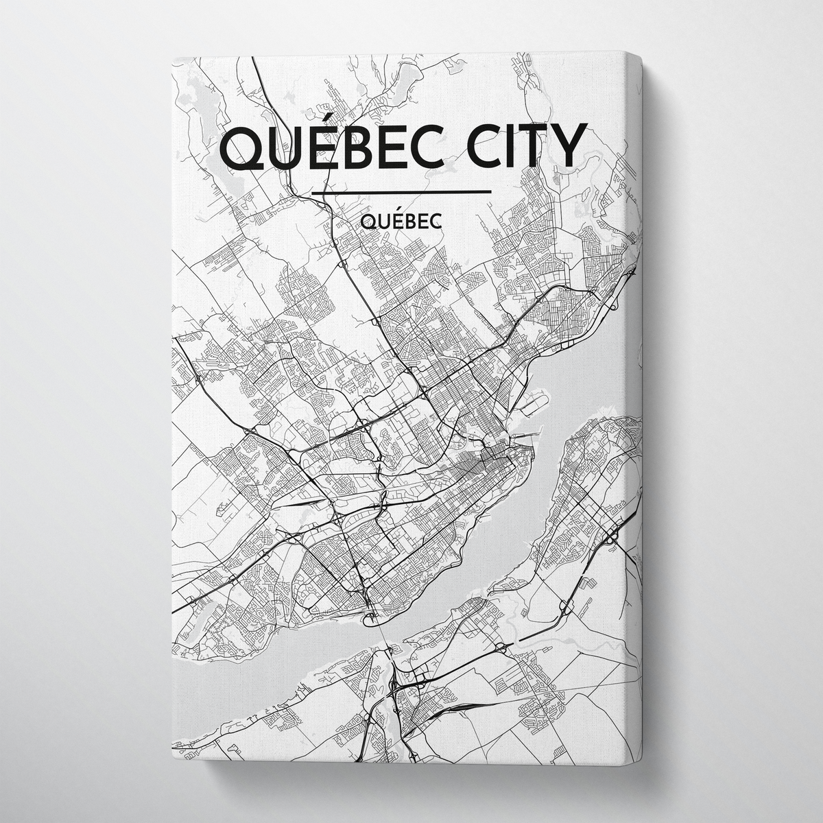 Quebec City Map Canvas Wrap - Point Two Design - Black and White