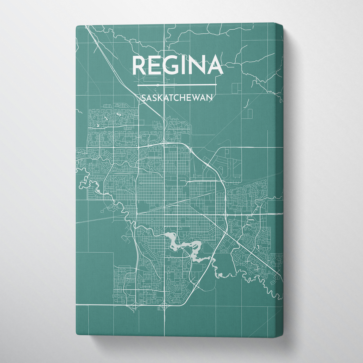 Regina City Map Canvas Wrap - Point Two Design