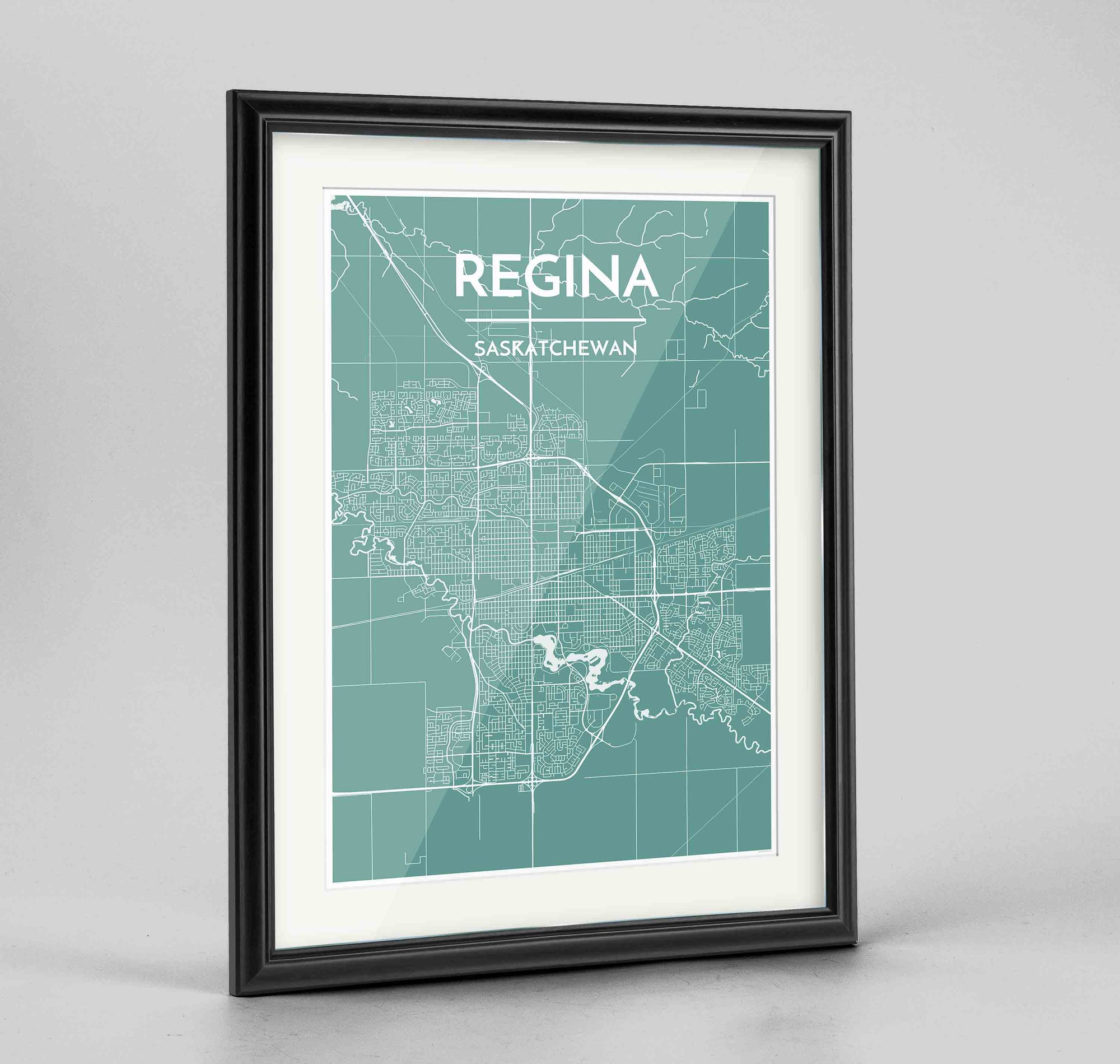 "Framed Regina City Map 24x36"" Traditional Black frame Point Two Design Group"