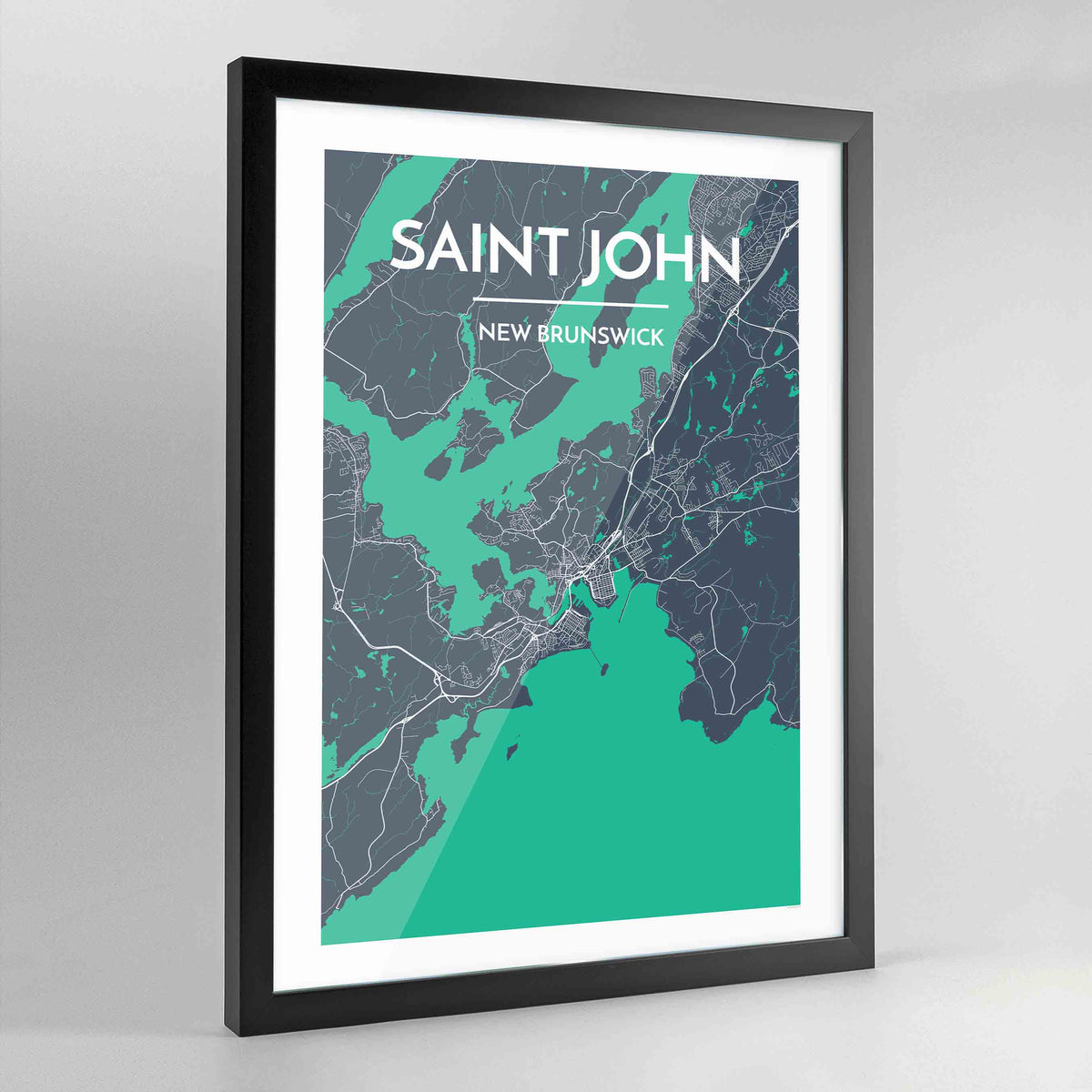 Framed Saint John City Map Art Print - Point Two Design