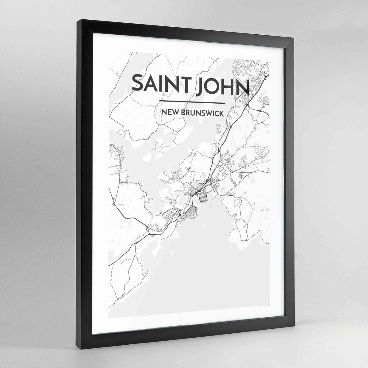 Saint John Map Art Print - Framed