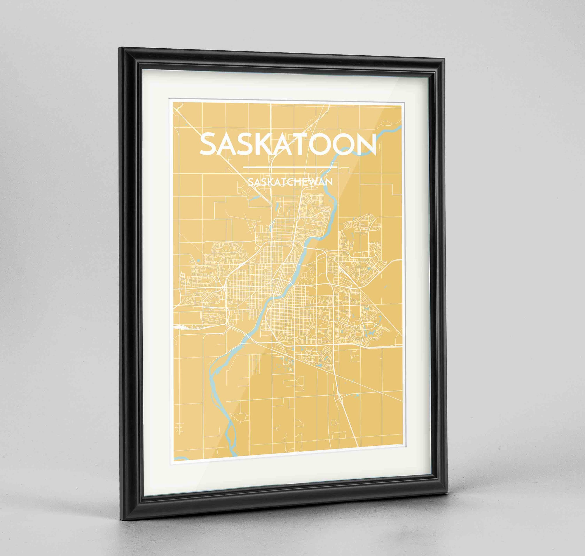 "Framed Saskatoon City Map 24x36"" Traditional Black frame Point Two Design Group"