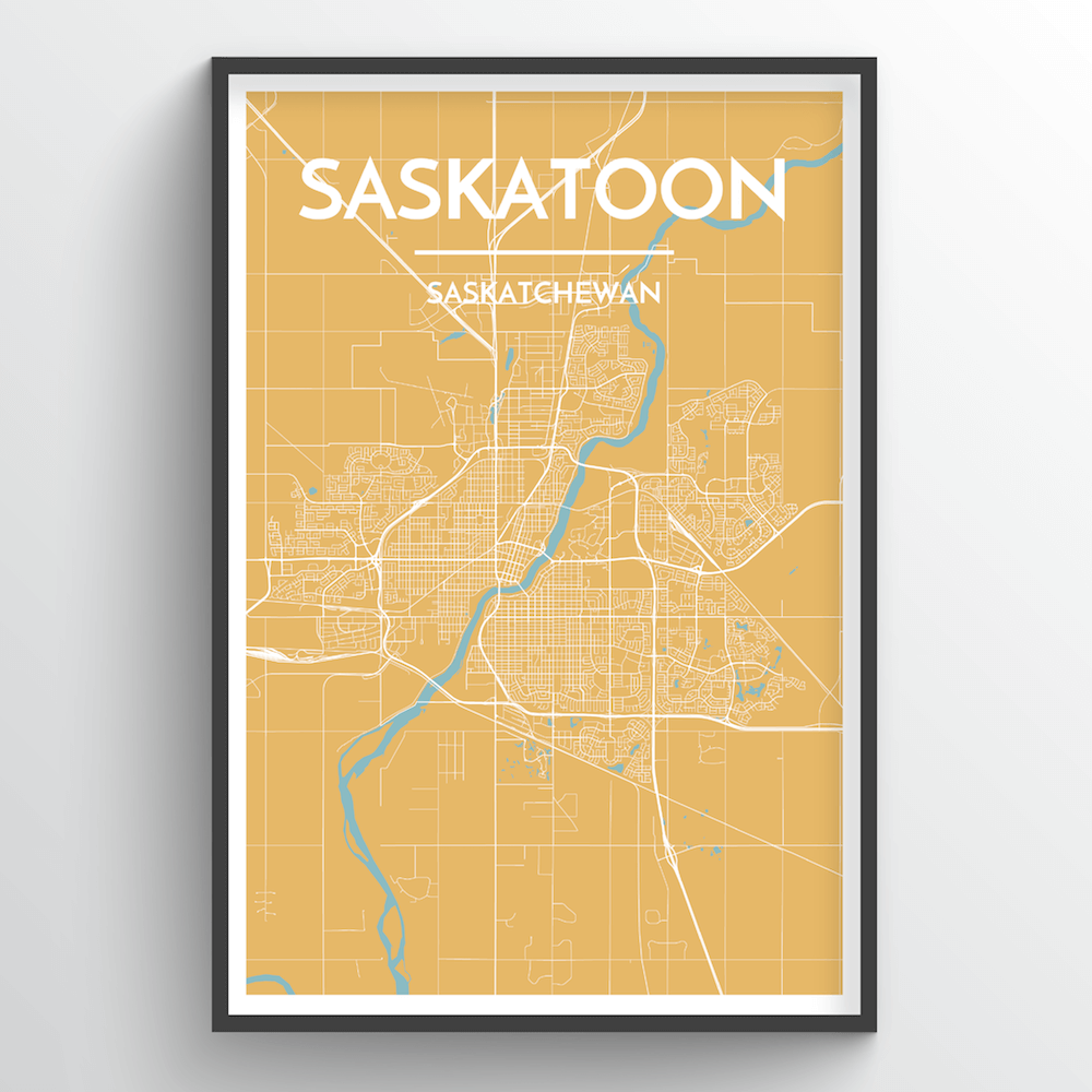 Saskatoon City Map Art Print - Point Two Design