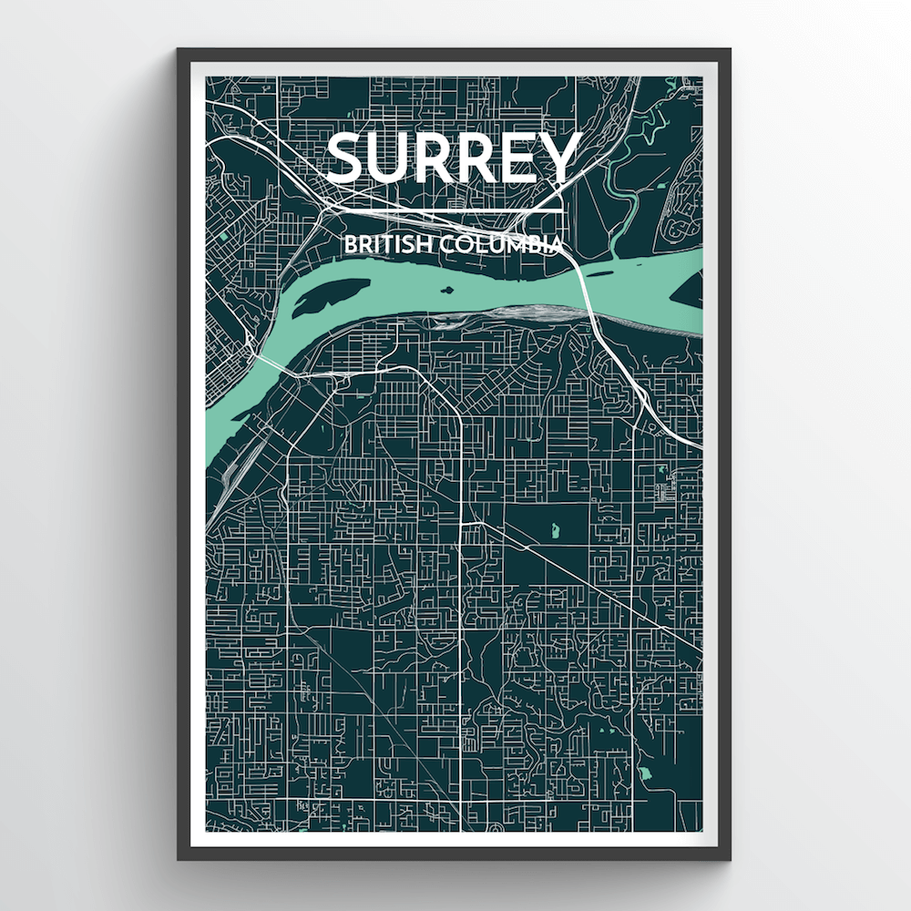 Surrey City Map Art Print - Point Two Design
