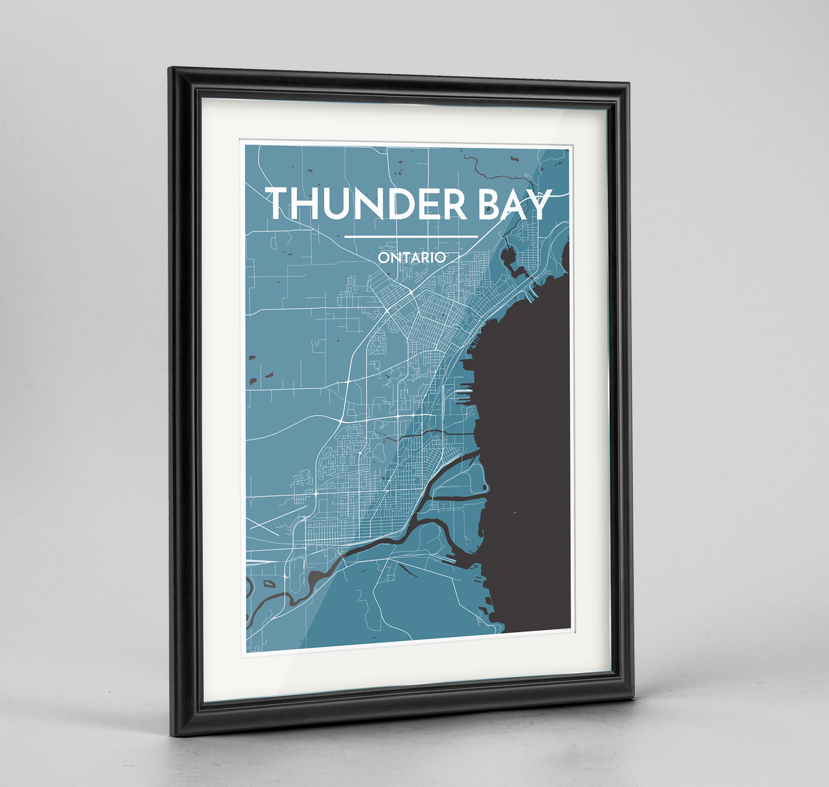 Framed Thunder Bay City Map Art Print - Point Two Design