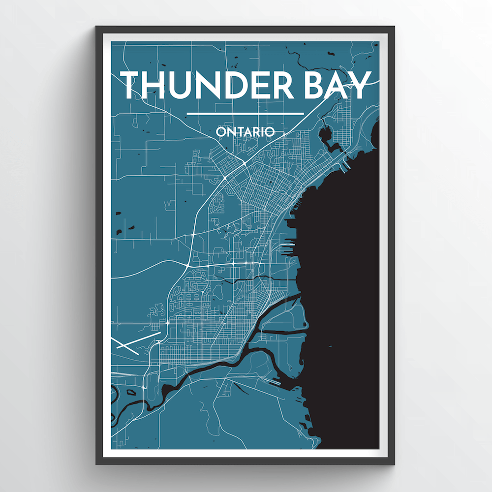 Thunder Bay City Map Art Print - Point Two Design