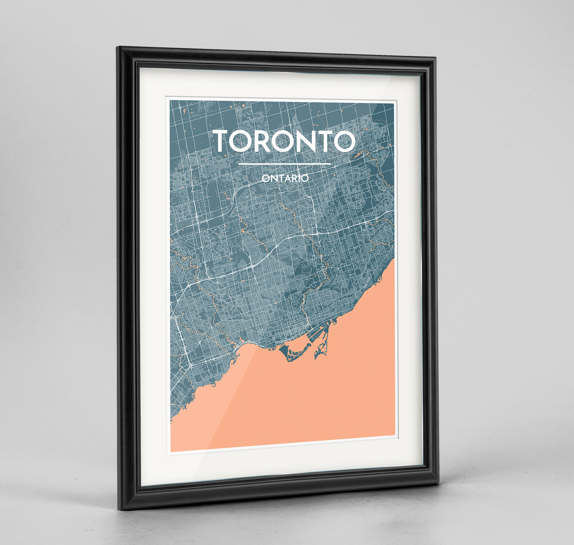 Framed Toronto City Map Art Print - Point Two Design