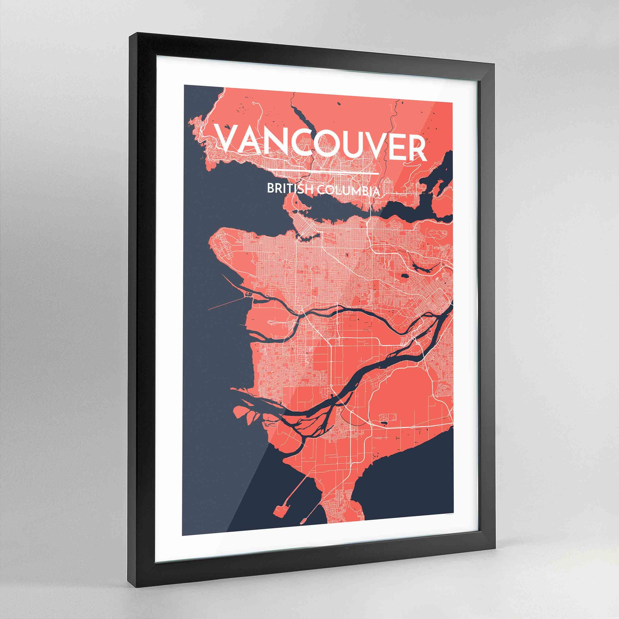 Framed Vancouver City Map Art Print - Point Two Design