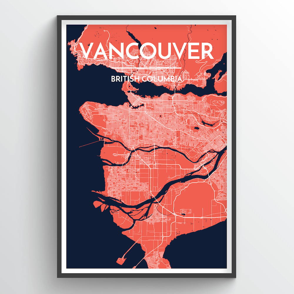 Vancouver City Map Art Print - Point Two Design
