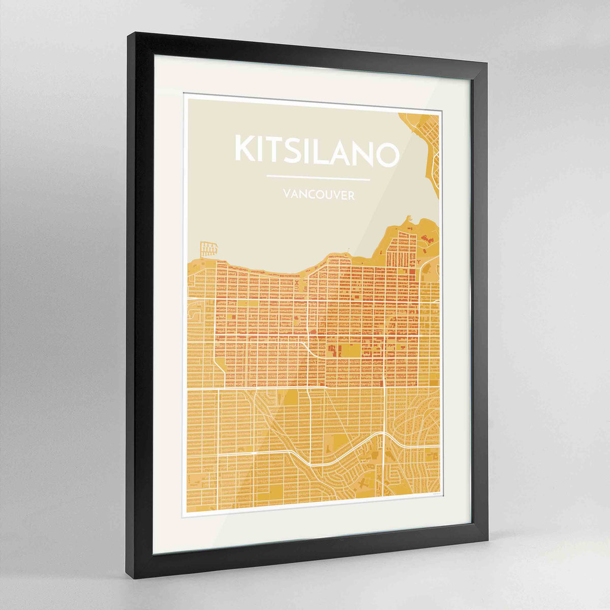 "Framed Kitsilano Vancouver Map Art Print 24x36"" Contemporary Black frame Point Two Design Group"