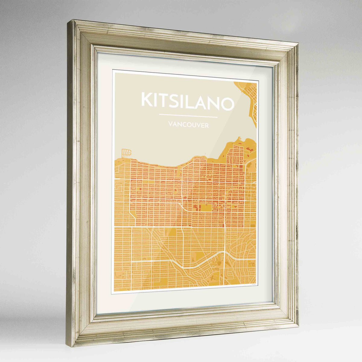 "Framed Kitsilano Vancouver Map Art Print 24x36"" Champagne frame Point Two Design Group"
