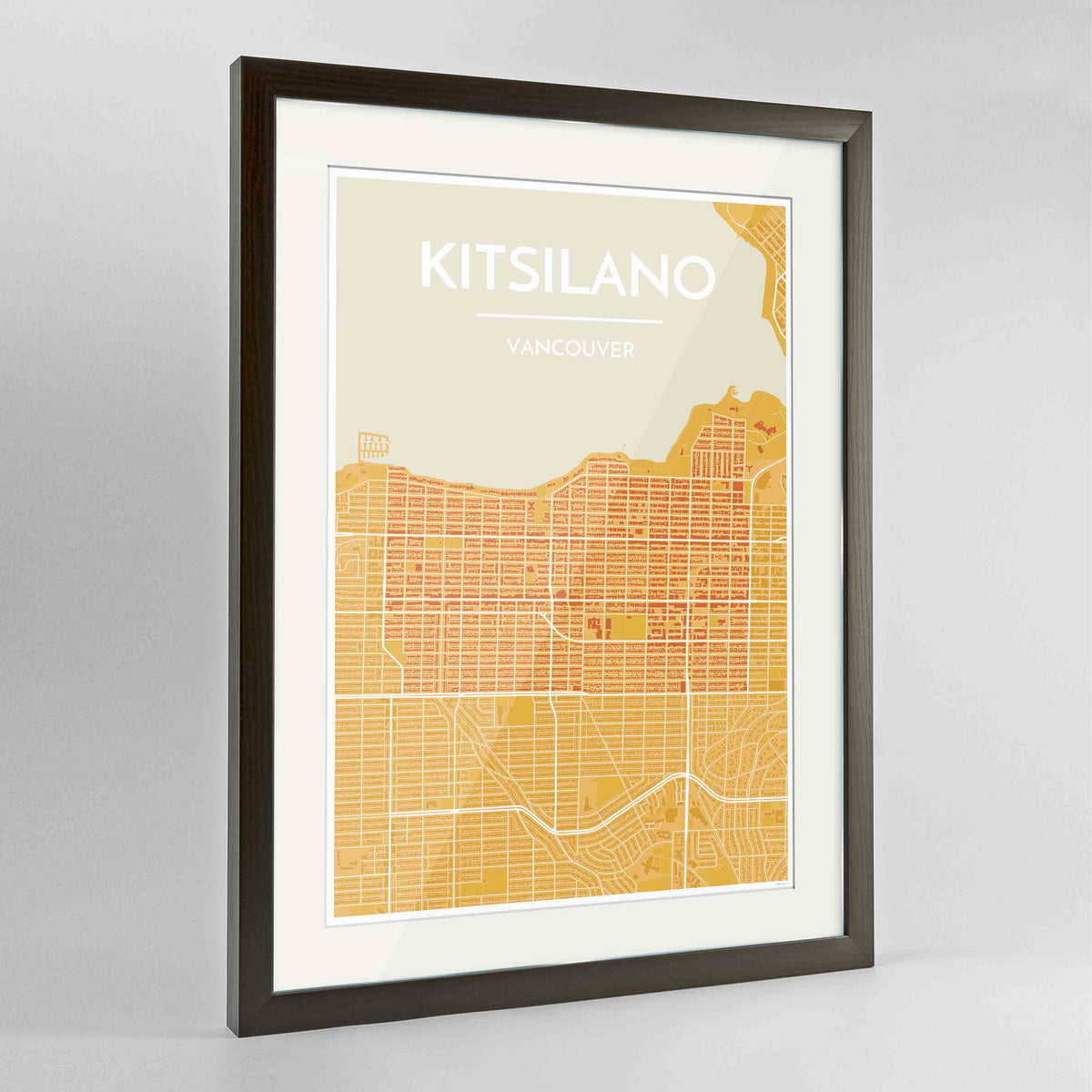 "Framed Kitsilano Vancouver Map Art Print 24x36"" Contemporary Walnut frame Point Two Design Group"
