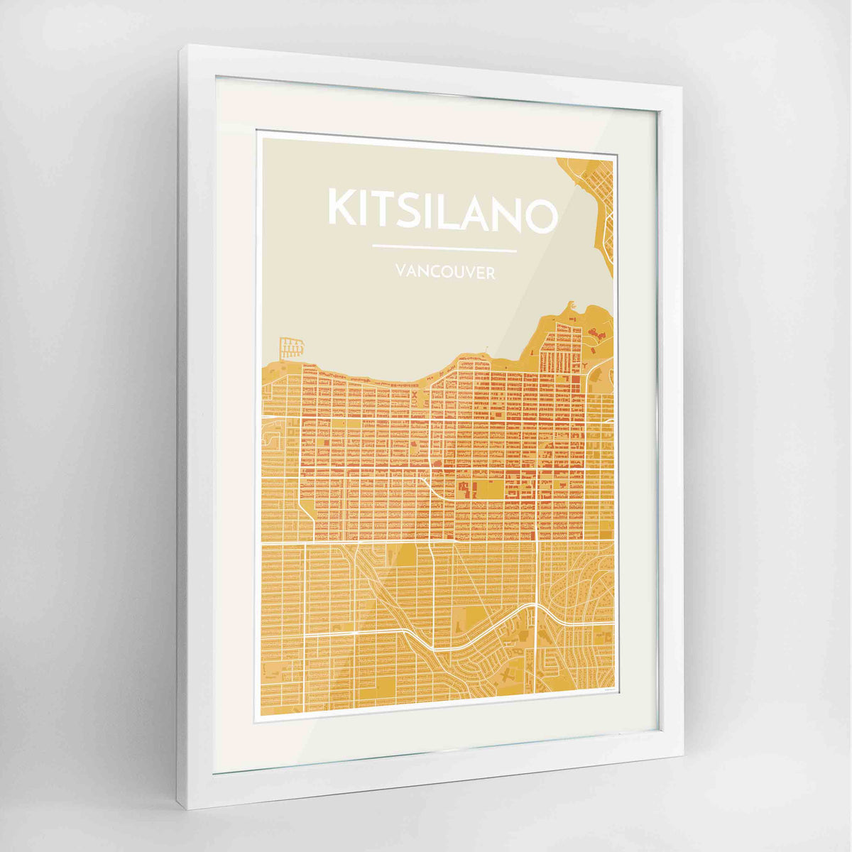 "Framed Kitsilano Vancouver Map Art Print 24x36"" Contemporary White frame Point Two Design Group"