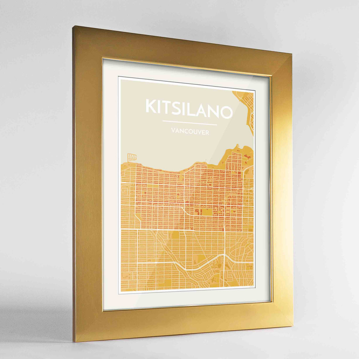 "Framed Kitsilano Vancouver Map Art Print 24x36"" Gold frame Point Two Design Group"