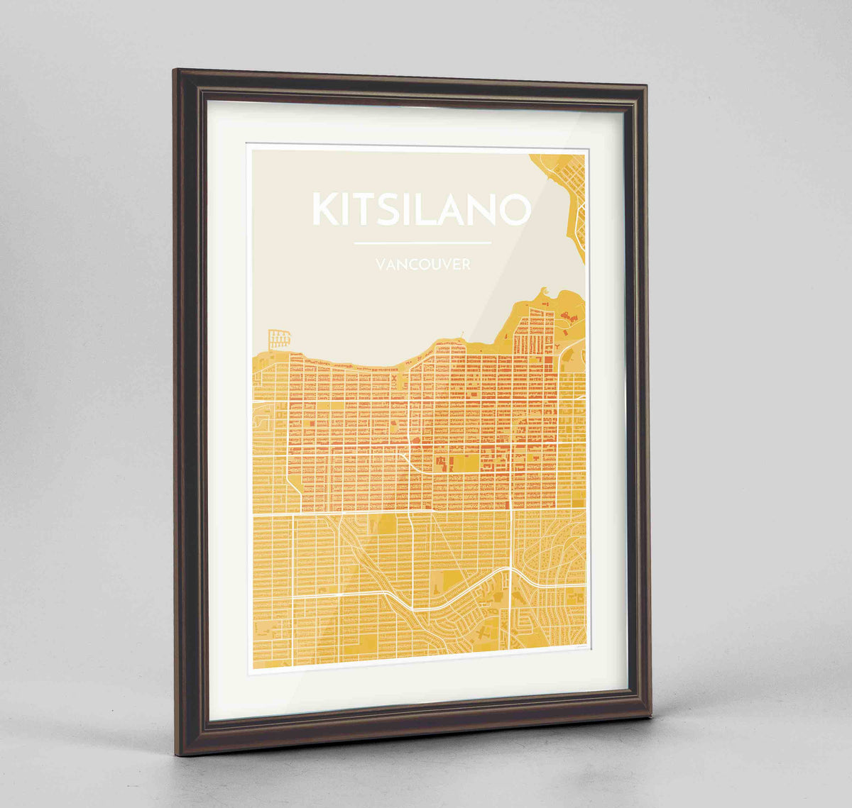 "Framed Kitsilano Vancouver Map Art Print 24x36"" Traditional Walnut frame Point Two Design Group"
